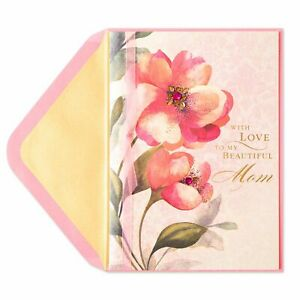 PAPYRUS Shimmer Pink Botanicals Valentine Card (For Mom) with Ribbon & Jewels
