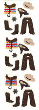 Sandylion Vintage 80's Shiny Western Cowboy Stickers 3 Squares RETIRED