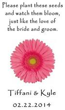 Wedding Favor Seed Packets Personalized Pink Daisy Custom Favors Set of 100