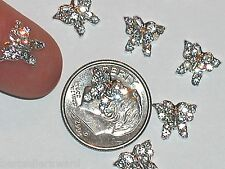 2 Pc Miniature dollhouse tiny jewelry making Flatbacks crystal Butterfly 8mm