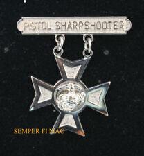 US MARINE PISTOL SHARPSHOOTER BADGE HAT PIN QUALIFICATION BADGE USMC SNIPER WOW