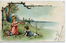 Bambine con Fiori Girls w Flowers Early Chromo Litho PC Viaggiata 1908