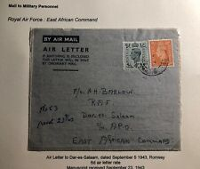 1943 England Air Letter Cover To Royal Navy Air Force Dar Es Salaam Tanganyika