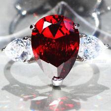 Exquisite Garnet 925 Silver Filled Birthstone Engagement Wedding Ring Size 9