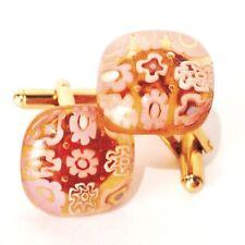 Pink & Amber Square Murano Glass Millefiori Flower & Gold Cufflinks.