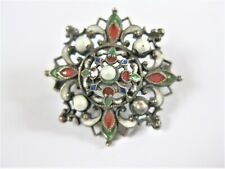 Antique Brooch Real Silver with Enamel, 4,19 G