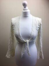 Pretty Ladies Women White lacey bolero Shrug Cardigan Bell Sleeve UK 8-10-12 (BL