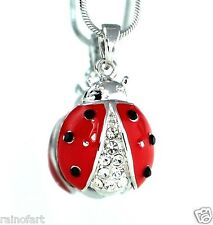 Ladybug W Swarovski Crystal Lady Bug Red New Pendant Necklace Gift Jewelry