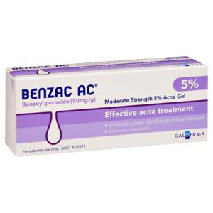 Benzac AC Moderate Strength 5% Acne Gel 60g Unblock Pores Blackheads Whiteheads