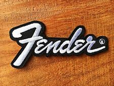 Fender Black White Guitar Amp Sew Iron on Patch Logo Embroidered Jacket Cap