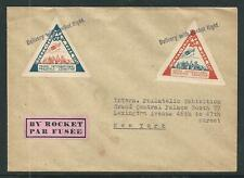 1936 US rocket mail cover - triangle stamps - New York IPEX