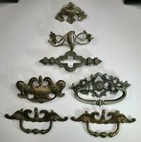 LOT Mix Variety Cabinet Drawer Handle Pull Knob Vintage Bat Wing Brass Salvage