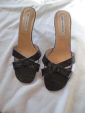 Womens Enrico Antinori Italy Stylish BLACK Leather Slides Shoes Sz. 39.5 *NEW*