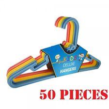 50 X Multi Coloured Children Kids Plastic Coat Hangers Child Baby Clothes Hanger