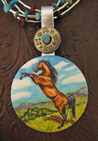 Hand Painted Horse Art Pendant Multi Strand Necklace Rearing Horse Turquoise