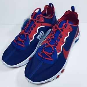 "Nike React Element 55 ""New York Giants"" Blue Red (CK4876-400) SZ US MENS 11.5"