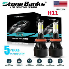 4-Side H11 LED Headlight Bulbs H8 H9 Kits 120W 32000LM Power 6000K White BLACK