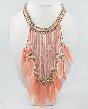 "BEAUTY 19""-21"" Pink Coral Feather Necklace Choker 20's Glamor Style Gold Tone"