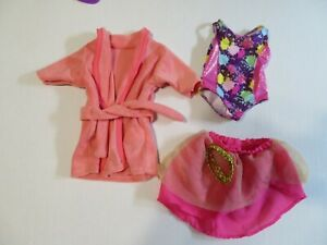 """Doll Clothes-Swim Suit With Cover Skirt-Plus Bath Robe For 18"""" Dolls--On Hangers"""