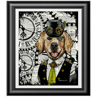 Golden Retriever Steampunk Print Vintage Dictionary Page DOG Wall Art Picture