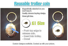 Wolf - Majestic Photo on Magnetic Keyring Coin Token For Trolley