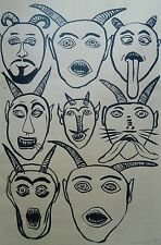 "ReDUCED!   ORIGINAL INK BRUSH DRAWING OF 8 Horned DEVILS , SIGNED, 1993, 26""x38"""