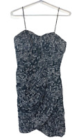 Out With Evie Womens Grey Sleeveless Sequins Print Lined 100% Silk Dress Size 8