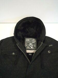 Fox Men's Sasquatch Jacket Sz Large Black Faux Fur Lined Burly Zip Up Hoodie Top