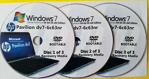 HP Pavilion dv7-6c63nr Factory Recovery Media 3-Discs Set / Windows 7 Home 64bit