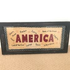 Primitives by Kathy Lisa Johnson America Stitched Sampler Framed Americana