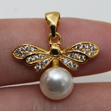 18K Gold Filled - White Topaz Dragonfly Pearl Insect Zircon Pageant Lady Pendant