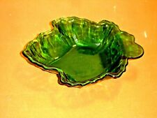Anchor Hocking Forest Green Glass Maple Leaf Candy Dish