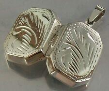 925 STERLING SILVER hinged Floral Design octagon LOCKET PENDANT 14mm x 19mm 3.7g