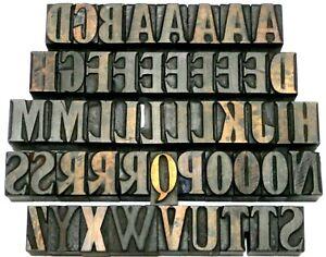 "Letterpress WOOD Type 1"" DESIGNED Alphabet 49pcs **Rare Unusual Typeface**"