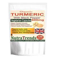 Organic Turmeric 600mg Curcumin Pure with Black Pepper 120 Veg Capsule UK made