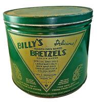 "VINTAGE BILLY'S BRETZELS TIN CAN 8 1/2"" TALL 10"" DIAMETER Pretzel Collectible"