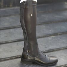 Mark Todd patent piped leather half chaps - Black M/STD