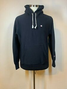 Champion Europe Reverse Weave Hoodie French Terry Loopback Sz XL Navy Blue Mint