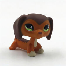 Littlest Pet Shop #675 LPS Green Eyes Brown Savanah Dachshund Dog Kids Toys