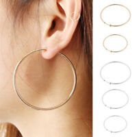 CLIP ON thick HOOP EARRINGS clips GOLD/SILVER TONE big FASHION non-pierced