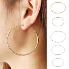 Clip On Earrings Gold Or Silver Plated Hoops 2 Inch Hoop Simple Thin