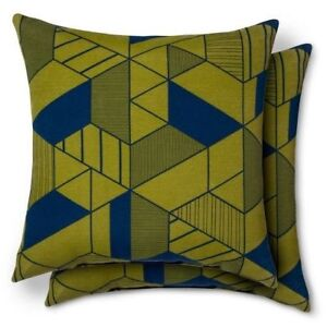 New! Set of 2 Modern Dwell Indoor/Outdoor Patio Pillow, Geometric Green & Blue