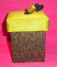 Gift Box - Storage Box. Wooden Cube - Black & Gold With Green Material Lid.