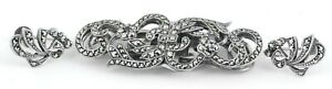 Antique Marcasite Sterling Silver Dress Clip Brooch And Earrings Set