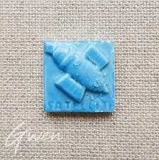 Feve Ancienne plate Moyet Perrin Satellite Bleu Turquoise Miniature Porcelaine