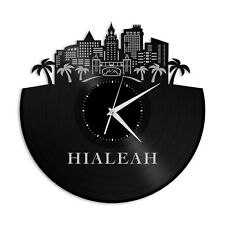 Hialeah FL Vinyl Wall Clock Skyline Exclusive Design Gift Home Room Decoration