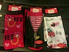 Set of 3 Valentine or Christmas Theme Knee Socks Love Hearts New with Tags NICE!