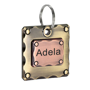 Square Brass Personalized Dog Tags Engraved Cat Puppy Pet ID Name Collar Tag