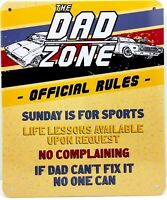"""DAD ZONE OFFICIAL RULES - Small Home Decor Metal Plaque Sign  - 7"""" X 6"""""""