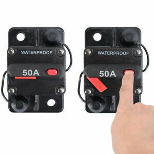 Waterproof Car Circuit Breaker Fuse Reset 50 Amp 12V-48V DC Car Boat Auto UK